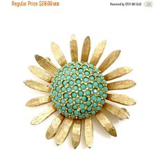 Les Bernard Sunflower Brooch, Small Turquoise Glass Cabs, Dimensional... (€24) ❤ liked on Polyvore featuring jewelry, brooches, vintage brooches, les bernard, vintage jewellery, gold colored jewelry and les bernard jewelry