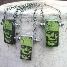 frankenstein domino necklace