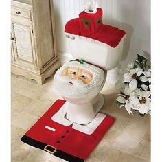 Cheap decorative decorative, Buy Quality decoration christmas directly from China decor rug Suppliers: Merry 2017 Fancy Santa Toilet Seat Cover 3 Pcs Bathroom Set Contour Rug Christmas Decorations Natal Navidad Decor Blending Tacky Christmas, Noel Christmas, Best Christmas Gifts, Christmas Humor, Ugly Christmas Sweater, Christmas Crafts, Cheap Christmas, Christmas Presents, Christmas Ideas