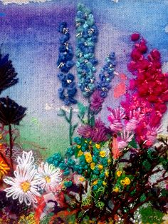 textile art - Google Search Cross Stitch Embroidery, Embroidery Patterns, Hand Embroidery, Machine Embroidery, Contemporary Embroidery, Primitive Folk Art, Hollyhock, Fabric Manipulation, Textile Artists