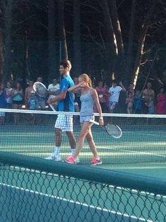 Novak training with his girlfriend Jelena