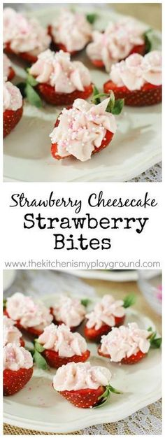 Strawberry Cheesecake Strawberry Bites ~ a fabulous little-bite treat perfect fo. - Strawberry Cheesecake Strawberry Bites ~ a fabulous little-bite treat perfect for Valentine's Day - Fruit Appetizers, Appetizers For Party, Appetizer Recipes, Pavlova, Tee Sandwiches, Tea Party Sandwiches, Finger Sandwiches, Brunch Recipes, Dessert Recipes