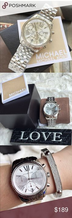 SALE🎉 Michael Kors Lexington Silver watch SALE ❇️❗️  A 100 % Authentic Michael kors Lexington Silver watch. This Michael Kors watch features a silver-tone stainless steel case and bracelet. A matching dial with roman numeral indexes completes the look.  Case diameter:40mm Includes Michael kors watch box and booklet. Retail: $250 plus tax  PRICE FIRM MICHAEL Michael Kors Accessories Watches