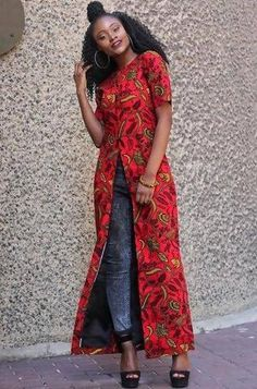 Outfit Entari African Print Ankara Long Top - Plus size African Fashion Designers, African Men Fashion, Africa Fashion, African Women, African Blouses, Red Blouses, African Attire, African Wear, African Outfits
