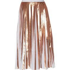 Raoul Metallic pleated coated crepe skirt (355 BAM) ❤ liked on Polyvore featuring skirts, bottoms, metallic, knee length pleated skirt, crepe skirt, pleated skirt, brown skirt and metallic pleated skirt