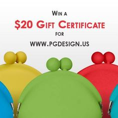 Enter to win one of five $20 gift certificates good for any purchase at www.pgdesign.us  It's quick and easy to enter. Just click on the picture for further instructions!  Good luck!