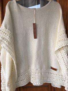 Poncho confeccionado a manoen Lana Merino Mix con borde en crochet.PAGO POR TRANSFERENCIA BANCARIA 10% de dto.Tiempo de entrega 1 semana