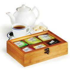 Caixa para Chás com 6 Divisões em Bambu Londres Welf - CX-06503 - presentesrodriguez
