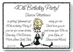40th Birthday Invitation Wording Funny