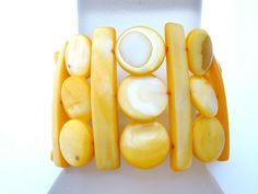 Wide Yellow Mother of Pearl Bracelet Fashion MOP Jewelry Stretchy Disc  #TheJewelryLadysStore #Statement