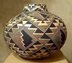 "Storm Pattern"" - Native American Ceramic Pottery by Bertha Tom"