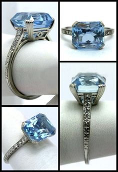 ~Art Deco aquamarine and diamond ring by Raymond Yard~   It dates to the 1920′s. That aquamarine is just under 4 carats, and the side #diamonds and engraved platinum are simply divine.