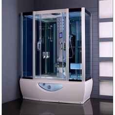 Aquaplus 1650mm X 800mm Steam Shower Cabin With Whirlpool Bath Backed Up  With A Comprehensive 1