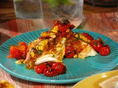 Grilled Halibut with Corn-Coconut Curry Sauce and Grilled Cherry Tomato Chutney recipe from Bobby Flay via Food Network