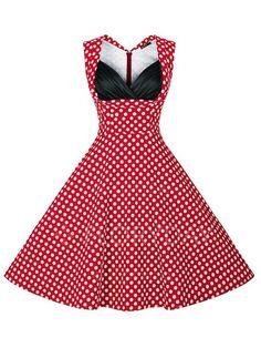 Tonval Summer Dress Polka Dot Vintage Dress Women 2017 Sexy V neck Evening  Party Rockabilly Floral Plus Size Dresses f941d0a4d41