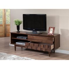 Tessuto Tobacco Finish 59-inch Entertainment Center - Overstock™ Shopping - Great Deals on Entertainment Centers