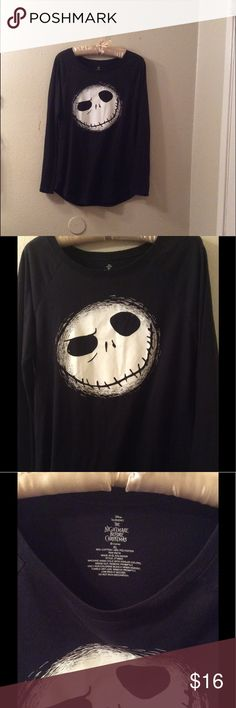 Jack skellington long sleeve tee XL Great condition! Size xl . Long sleeve boat neck tee. Jack skellington on the front. The back is plain. Disney Tops Tees - Long Sleeve