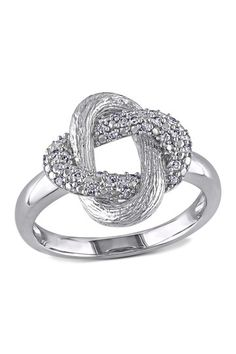 Sterling Silver Diamond Interlocking Oval Ring by Delmar on @HauteLook