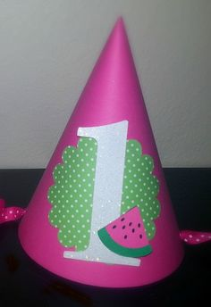 Pink and Green Watermelon Birthday Hat by LemonSugarStudios, $6.50
