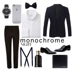 """Monochrome Men's Style night"" by makesmefashionable on Polyvore featuring River Island, Emporio Armani, Gucci, Native Union, Burberry, Topman, HUGO, Ike Behar and monochrome"
