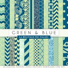Green and Blue Digital Paper. Digital blue and green paper, wedding digital paper patterns, Commercial Use scrapbook.