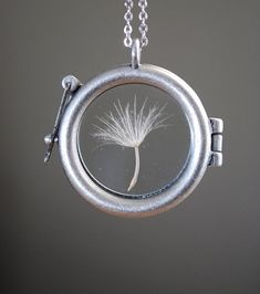 Round Dandelion Seed Necklace Dandelion by paperfacestudio on Etsy, $30.00