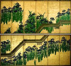 Irises at Yatsuhachi -- a double screen by Ogata Korin