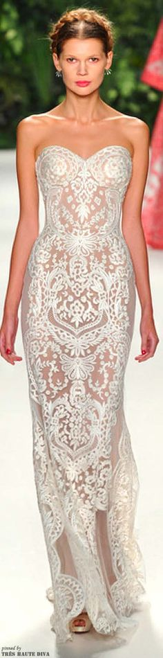 New York Fashion Week Naeem Khan Spring 2014 Runway Fashion Show , Sheer Crepe White Lace Embroidered Gown Full Length Maxi Dress   -Rich Beverly Hills Fashion Kid