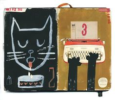 BLACK CAT A DAY! I love this! By Stephanie Birdsong via Brown Paper Bag