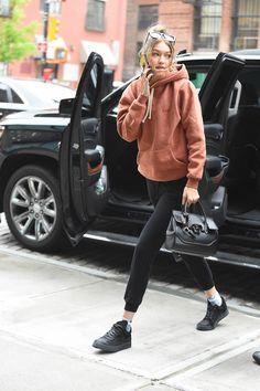 Gigi looking off-duty cool in a hoodie