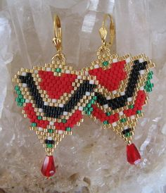 Beadwork - Seed Beaded Earrings - Red/Green/Black