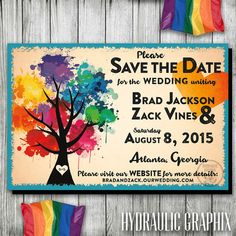 Love Wins, Gay Pride, Gay Marriage, Rainbow Tree Wedding Save the Date, Same Sex Wedding, Gay Wedding Save the Date, Printable Invitation