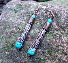 Viking knit earrings Copper earrings wire wrapped drop earrings. This lovely earrings are made of copper wire with viking knit chain. The chain is finished with handmade wire caps. Earrings are patinated, polished and protected from tarnishing. Size of the earrings are 2 1/2 (7,1 cm)