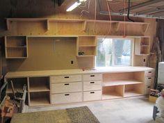 Workshop Layout, Workshop Design, Workshop Storage, Home Workshop, Workshop Ideas, Workshop Bench, Workshop Shelving, Workshop Cabinets, Studio Design