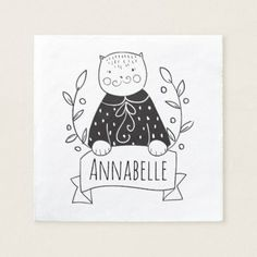 Cute Cat Paper Napkin - drawing sketch design graphic draw personalize