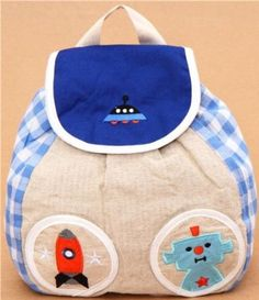 blue Decole Vichy square robot space childrens backpack