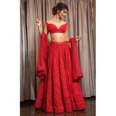 Find the latest Bollywood celebrity inspired lehenga designs for weddings. Check Lehenga designs worn by Alia Bhatt, Katrina Kaif, Shradhha Kapoor. Red Lehenga, Party Wear Lehenga, Indian Lehenga, Indian Gowns, Indian Attire, Indian Ethnic Wear, Heavy Lehenga, Anarkali, Saree