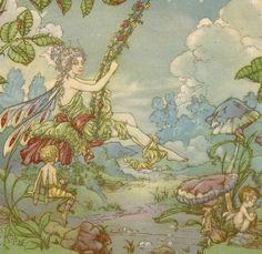Vintage Harold Gaze illustration fairy woman on flowered swing digital download printable instant image