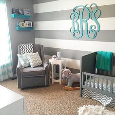 Aqua and Gray Chevron Nursery. Gray and teal nursery. A aqua and gray chevron nursery featuring aqua walls and chevron accents throughout including curtains, bedding, blankets, lamp shade and changing cover. Grey Chevron Nursery, Boy Nursery Colors, Baby Room Colors, Baby Room Decor, Gray Chevron, Nursery Ideas, Aqua Nursery, Nursery Stripes, Nursery Room