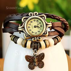 $4.70 Retro Quartz Watch with Butterfly Round Dial and Knitting Leather Watch Band for Women