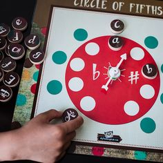 Lots of fun placing the key signature wooden discs on the circles. Spinner is used as another variation to play this game, I love this for group classes!