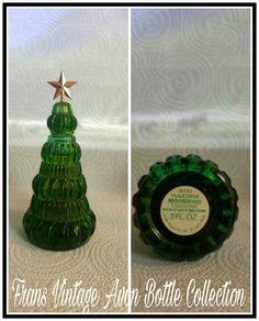 Vintage Avon Yule Tree Moonwind Cologne Green Glass Bottle Decanter
