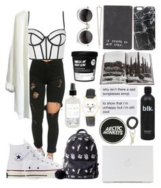 """""""Black #1"""" by kaleyyy00 ❤ liked on Polyvore featuring Casetify, Assouline Publishing, Converse, Topshop, Givenchy, Valfré and Olivia Pratt"""