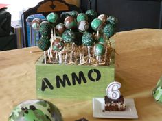 Army cake pops.I dont think I can replicate the marblized cake pops, but I could for surely do the others. The container would not be included.