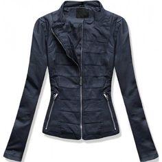 Dámská bunda Thora tmavě modrá – modrá – dámská kožená bunda vhodná na  každou sezónu – zapínání na zip – přední kapsy – zajímavé vzory uprostřed  bundy ... 544d68dddff