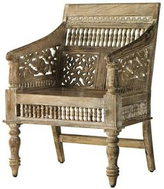 Hand-Carved Maharaja Chair in Sandblasted white.  Wonder if it would be comfy with a cushion.  $239.
