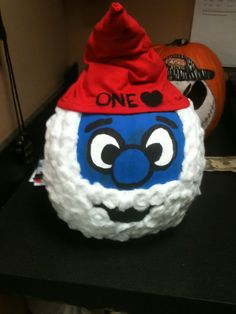 Smurf pumpkin for halloween! Did this for canes last year, can't wait til Aiden is older and we can make his favorite characters! (: