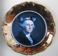 Forever Let Us Hold Our Banner High - Altered Antique Plate Antique Plates, Decorative Plates, Hanging Plates, Modern Portraits, Mickey Mouse Club, Altered Images, Wire Hangers, Vintage China, Plate