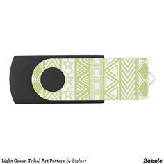 Light Green Tribal Art Pattern Swivel USB 2.0 Flash Drive