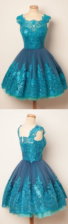 A-line homecoming dresses, blue homecoming dresses, applique homecoming dresses, short prom dresses, formal dresses, party dresses, graduation dresses#SIMIBridal #homecomingdresses